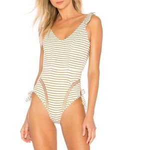 Tularosa femi vanilla stripe one piece swimsuit